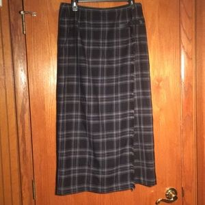 Wool kilt straight midi skirt black plaid 10 Fall